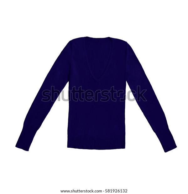 women's dark blue navy v-neck pullover, isolated on white