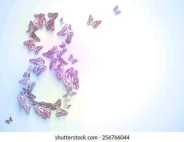 Women's day design, greeting card with March 8 - Shutterstock ID 256766044
