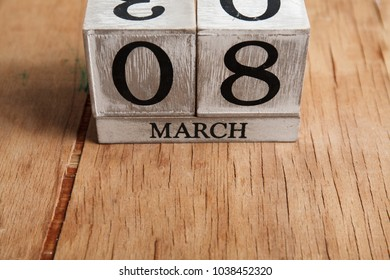Women's day March 8 with wooden block calendar. Happy mother's day. Spring flower