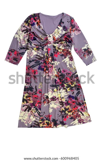 women's dress with floral print isolated on white background