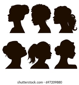 Women's elegant silhouettes with different hairstyles. Beautiful female face in profile.
