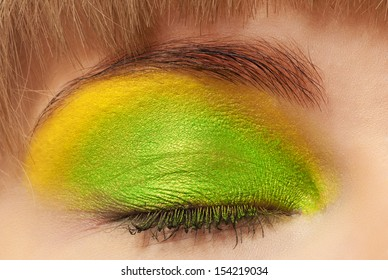 Women's eyes with a beautiful bright make-up closeup