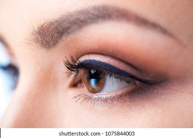 Women's eyes close up
