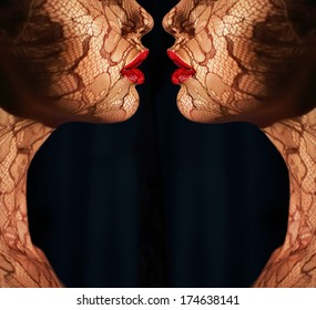Women's Faces with Tracery Opposite each other. Reflexion. Fantasy. Art Bodyart