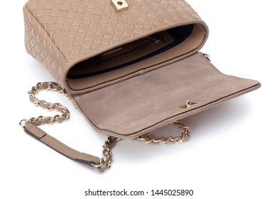 Women's fashion crossbody bag isolated on white background