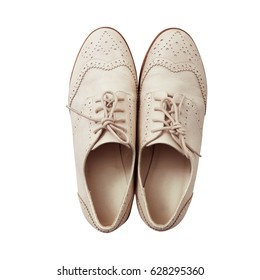 Women's fashion shoes casual design on white background isolated. Top view close up.