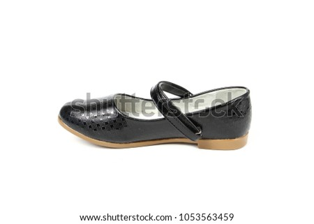bdf802f05 Womens Flat Photo Black Shoes Isolated Stock Photo (Edit Now ...