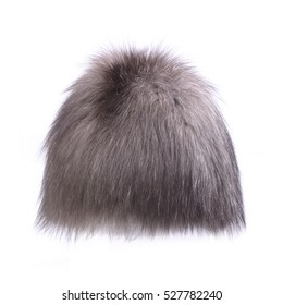 women's fur hat isolated on white