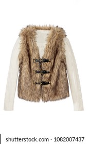 women's fur vest with sweater