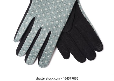 women's gloves with polka dots isolated on white