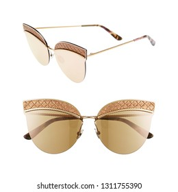 Women's Gold Cat Eye Sunglasses Isolated on White. Round Italian Eyeglasses. Front and Side View of Lady's Semi-Rimless Shield Glasses. Modern Girl's Protective Eyewear Shades. Eye UV Protection Acces