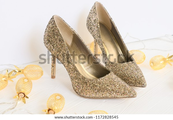 6919be3823400 Womens Gold Chunky Glitter Pumps Shoes Stock Photo (Edit Now) 1172828545