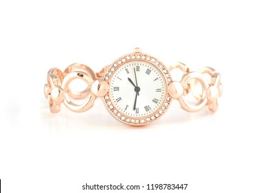 women's gold wrist watches with diamonds isolated on white