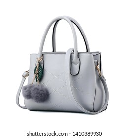 Women's Gray Leather Bag Isolated on White Background. Side View of Luxury Genuine Full Grain Leather Lady Shopping Bag. Women Top Handle Shopper Tote Bag Padlock. Handbags & Fashion Accessories
