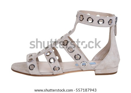 510aa3908599 Womens Gray Sandals Shoes Isolated On Stock Photo (Edit Now ...