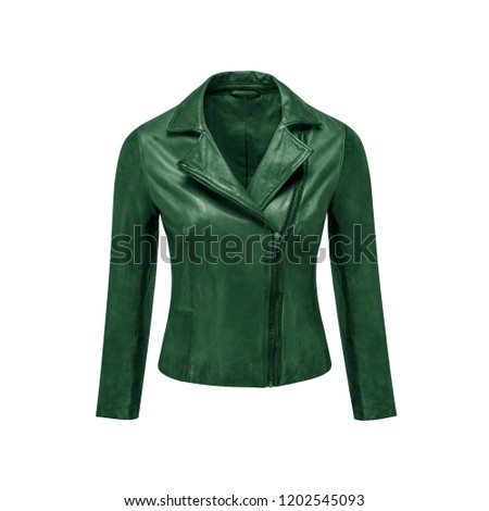 Womens Green Leather Jacket Isolated On Stock Photo Edit Now