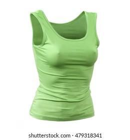 Women's green T-shirt on a mannequin
