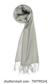 women's grey scarf isolated on white