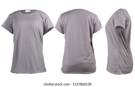 Women's grey t-shirt, front back rear and side view template. Blank shirt mock up for print design. Isolated on white