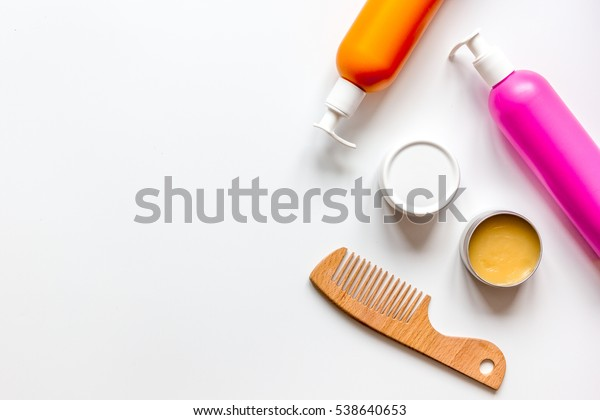 womens haircare spa in bottle on white background top view