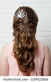 Women's hairstyle of the Eastern tail on the head of a brown-haired rear view.