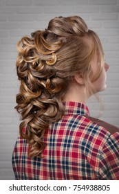 Women's hairstyle halo braid on the hair of the brown-haired rear view of the head turning to the right on a light background