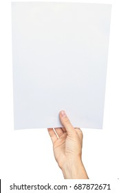 Women's hand holding a blank paper sheet, isolated on white. Clipping path
