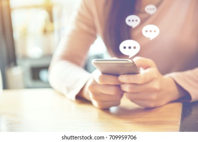 women's hand typing on mobile smartphone, Live Chat Chatting on application Communication Digital Web and social network Concept.