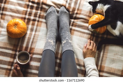Women's hands and feet in sweater and woolen cozy gray socks holding cup of hot coffee, sitting on plaid with kitten, pumpkin, candles and leaves. Concept winter comfort, morning drinking