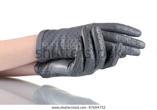 457df6838 Womens Hands Gray Leather Gloves Isolated Stock Photo (Edit Now ...