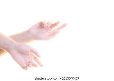 women's hands on a white background