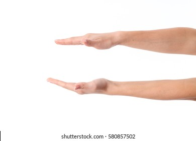 women's hands are outstretched one opposite the other isolated on white background