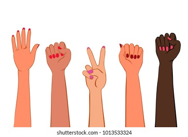 Women's hands with painted nails. Symbol of women's protest of different nations. Clenched fist, stop gesture, victory sign. Raster version.