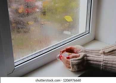 Women's hands in red finger less gloves hold a cup of hot tea. Woman looks out the window behind which it is raining