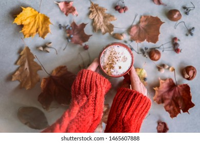 Women's hands in a red wool pullover holding a cup of coffee with milk, cappuccino and cinnamon among autumn colorful faded leaves. Concept of leaf fall, autumn