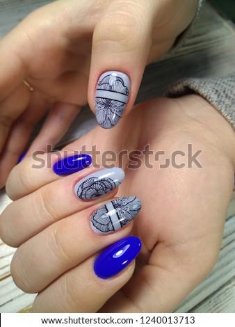 Womens Hands Stylish Manicure Stock Photo (Edit Now) 1240013713 ... 719b7e6a8