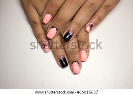 Womens Hands Stylish Manicure Stock Photo (Edit Now) 466015637 ... 458aef08a