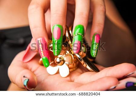 Womens Hands Stylish Manicure Stock Photo (Edit Now) 688820404 ... 87295f08e