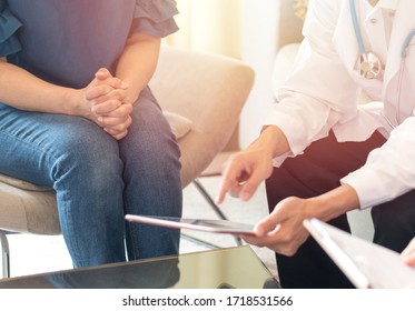 Women's Health healthcare concept. Gynecologist doctor consulting female patient on Obstetrics and Gynecology HPV diseases.Professional psychologist consult in psychotherapy session