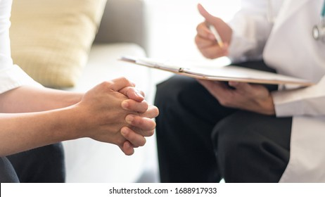 Women's Health healthcare concept. Obstetricians consulting female patient on Obstetrics and Gynecology diseases.Professional psychologist doctor consult in psychotherapy session or counsel diagnosis  - Shutterstock ID 1688917933