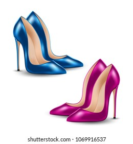 Womens high heel shoes, isolated on white background. Sale banner template. Illustration