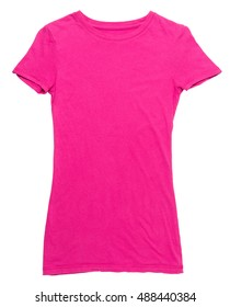 Women's hot pink t-shirt on white