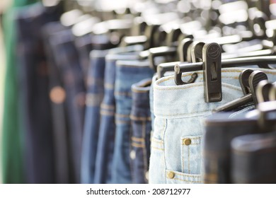 a lot of womens jeans at a store