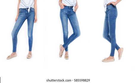 women's jeans and white T-shirt in different poses isolated on white background.