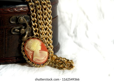 women's jewelry and brown leather jewelry box, large. big gold chain, jewelry, cameo brooch.