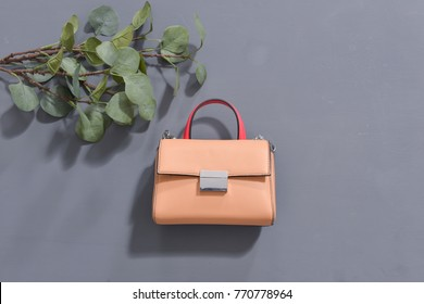 Women's leather handbag with green leaf on gray background