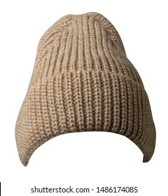 Women's light brown hat front view. knitted hat isolated on white background.