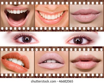 Women's lips on negative film, and in the middle of the eye