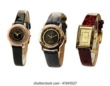 women's luxury silver  wrist watch on white background