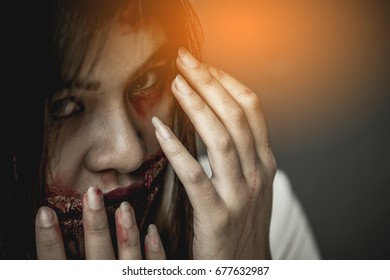 Women's makeup as a zombie in a Halloween day.
